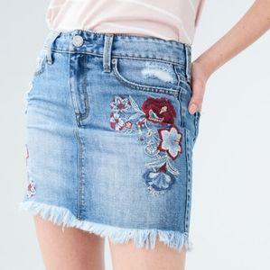 Aeropostale Embroidered Floral Denim Skirt